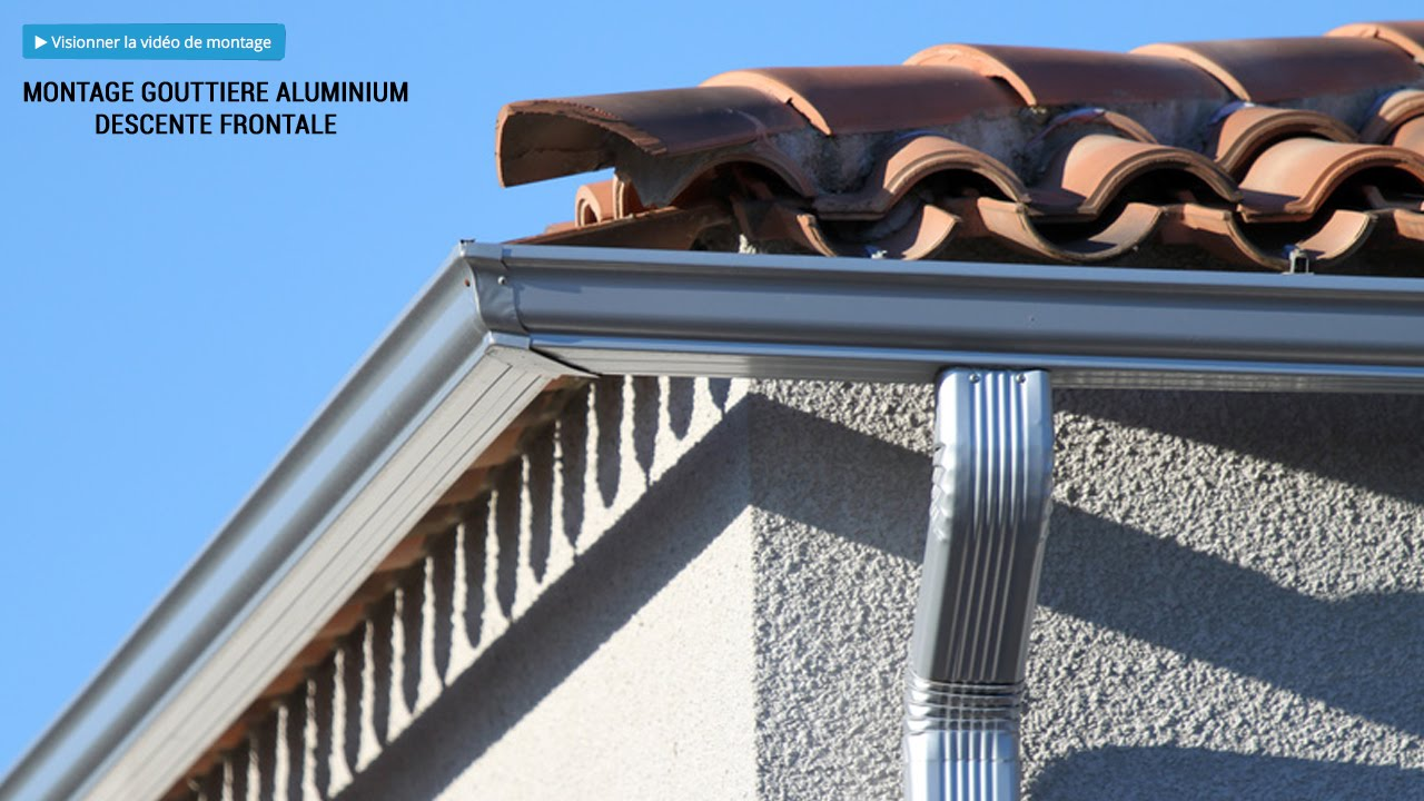 montage descente frontale goutti re aluminium brico toiture youtube. Black Bedroom Furniture Sets. Home Design Ideas