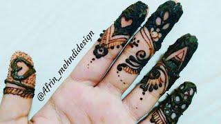 5 Different types of Fingers Henna tattoos Mehndi Design /Beautiful latest Easy DIY mehendi design