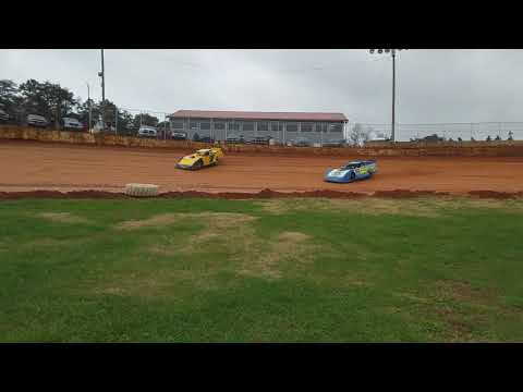 Donald McIntosh and Chicky Barton during hot laps at 411 Motor Speedway
