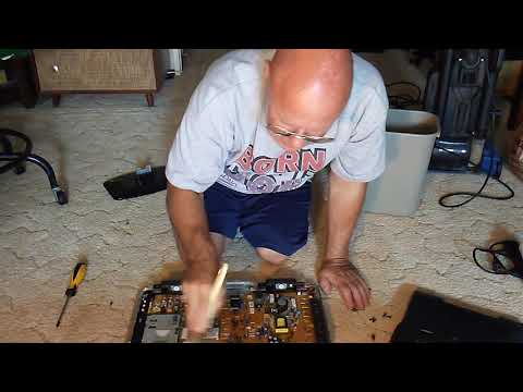 I show how to clean dust out of a flat screen tv/monitor(consult a service center before doing)
