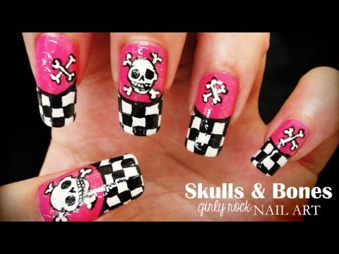 Skulls & Bones Girly Rock nail art