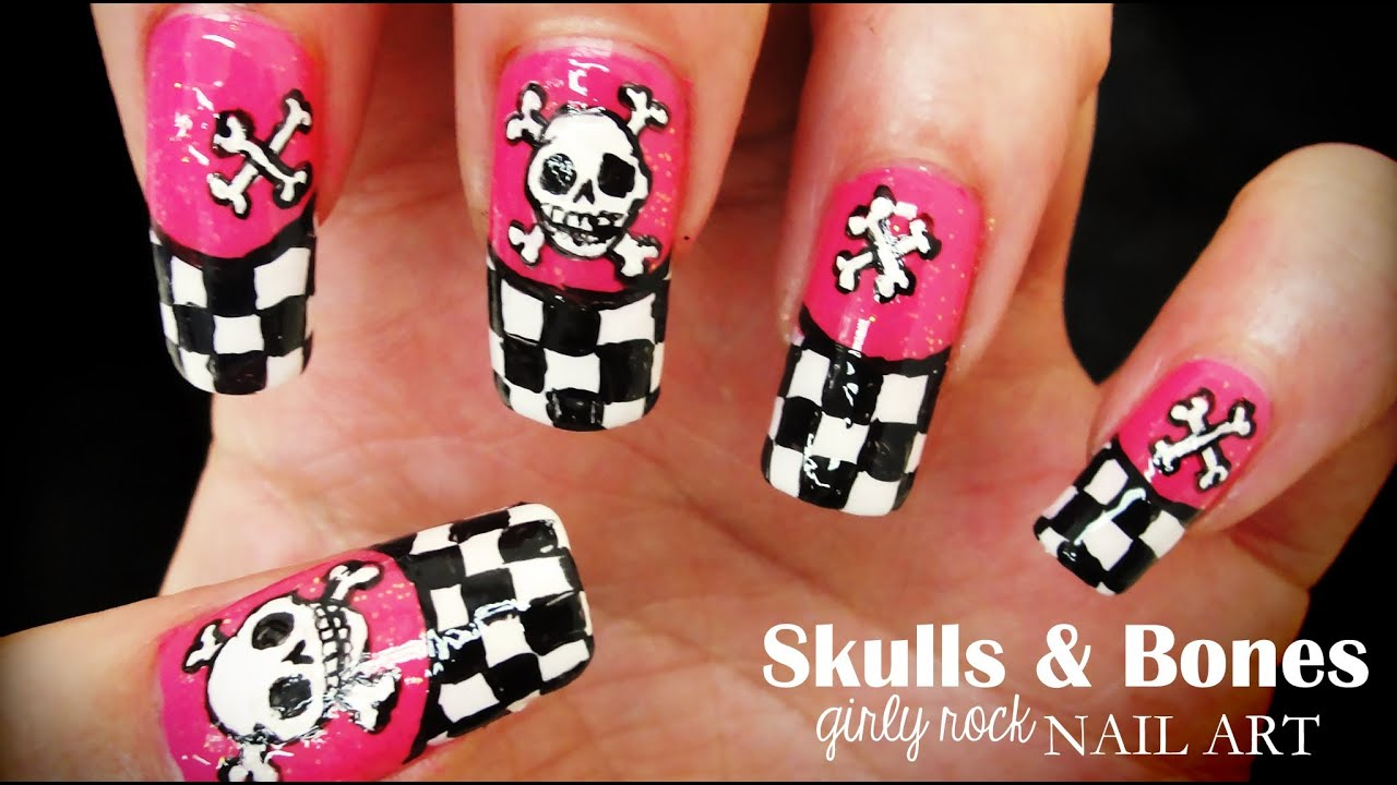 Skulls & Bones Girly Rock nail art - YouTube