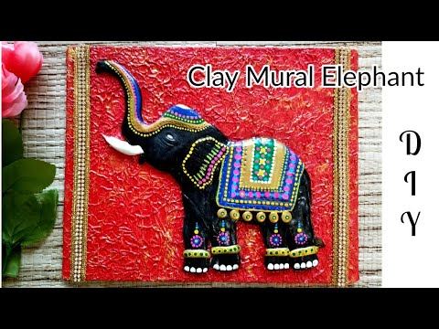 DIY Textured Clay Mural Elephant | How to make textured mural painting