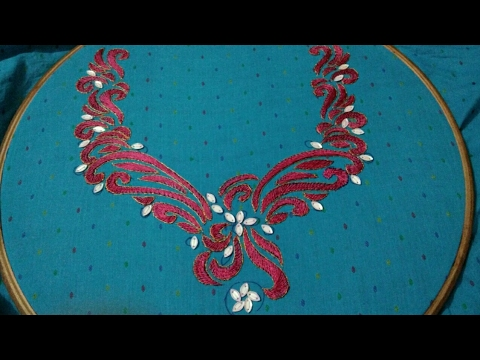 Hand Embroidery Kurti Design With Easy Basic Stitches Youtube