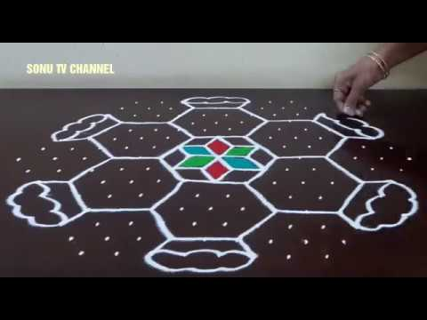 15 × 8 DOTS || SIMPLE PONGAL POT KOLAM || INTERLACED DOTS || KOLAM FOR PONGAL || HOW TO DRAW ||