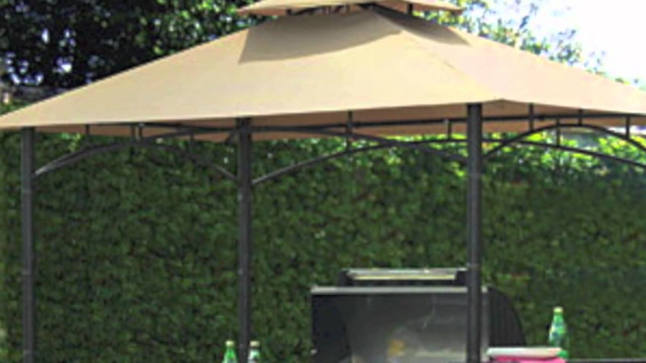 & 8x5 Bamboo Look BBQ Gazebo Replacement Canopy - YouTube