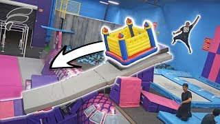 MINI BOUNCE HOUSE DOWN TRAMPOLINE PARK SLIDE!