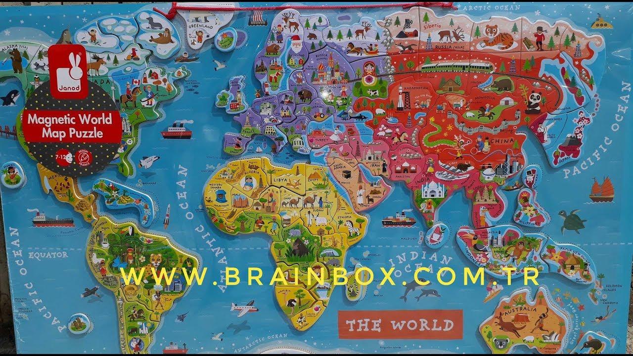 Janod Manyetik Dünya Haritası Brainboxcomtr YouTube - Magnetic us map puzzle janod