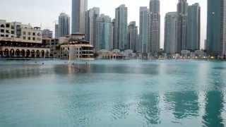 Dancing fountains Burj Khalifa Dubai Mall.on a pleasant Japanese  song.