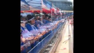 川俣シャモ祭り「セカチョウジュニア」 山木屋太鼓 焼き鳥に挑戦!