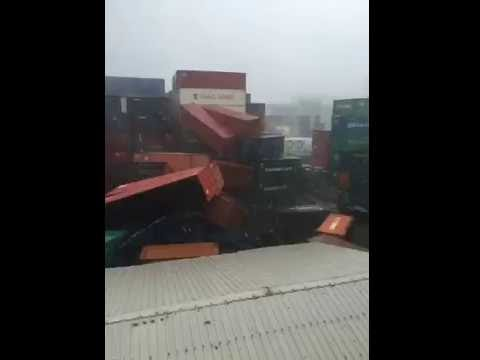 Typhoon Meranti Passes Over Port of Kaohsiung Damaging Container Yard, Southern Taiwan