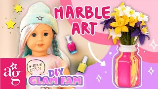 Harper Learns How To Make COOL Marble Water Art 🎨 | GLAM FAM KNOWS HOW | American Girl Doll Crafts