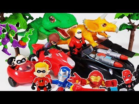 Incredibles 2 Car & Elasticycle, Go~! Avengers Iron man, Hulk, Hulkbuster, Dino Mecard