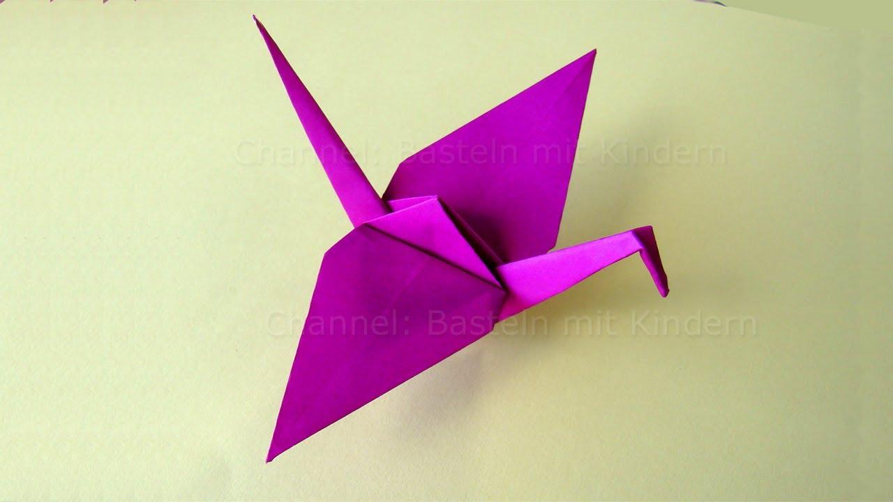 Origami Kranich - Basteln mit Kindern - Origami Tiere ...