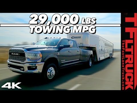 We Max Out the New 2019 Ram Cummins HD with 29,000 lbs & a 50 FOOT Trailer to Test Towing MPG!