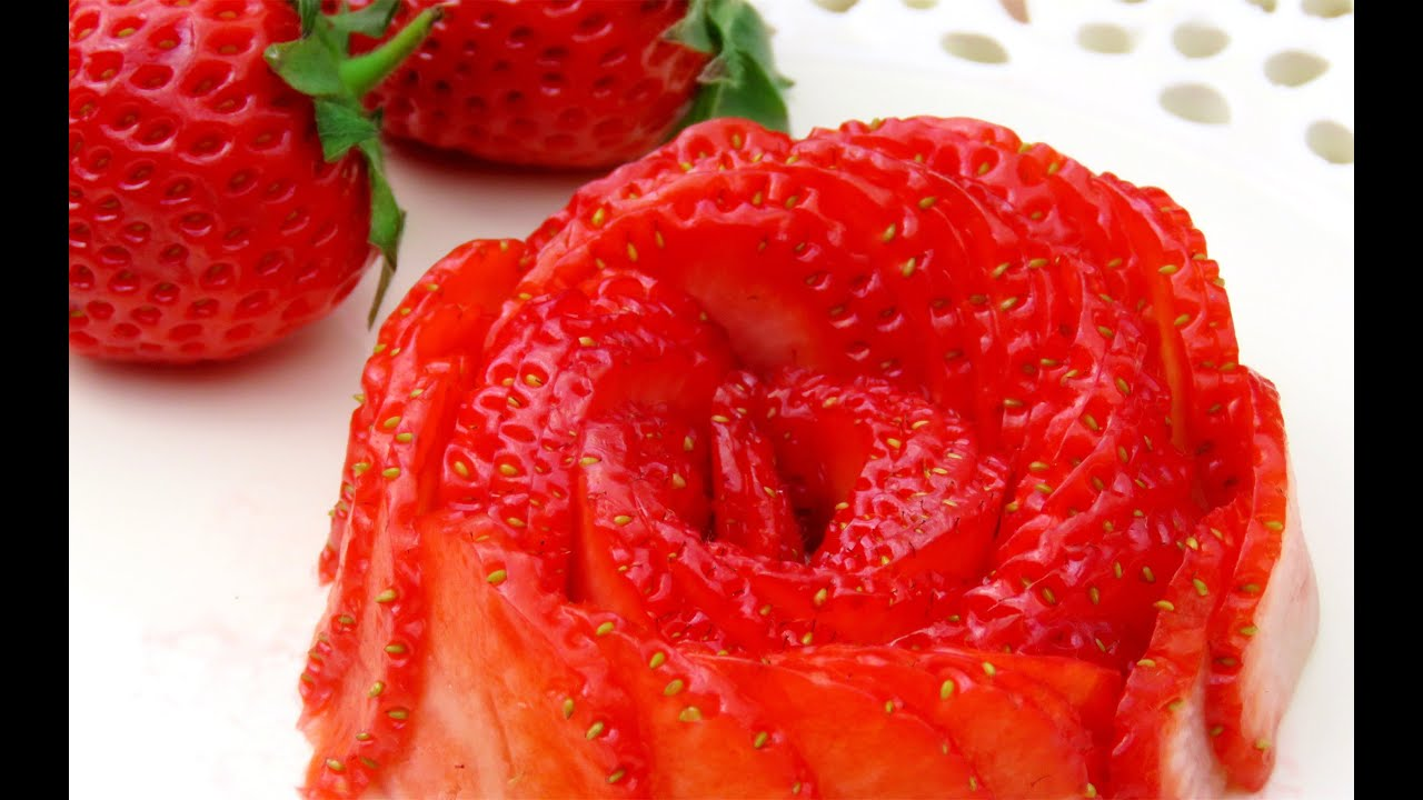 How it 39 s made strawberry rose flower fruit carving - How to slice strawberries for decoration ...
