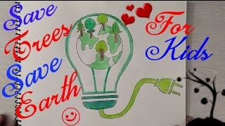 How to draw Save Trees, Save Earth, Save Electricity Coloring Drawing step by step || Save Power ||