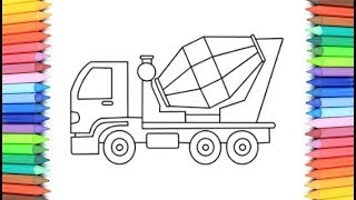 How To Draw A Mixer Truck for Kids 💙💜💖  Mixer Truck Drawing and Coloring Pages for Kids