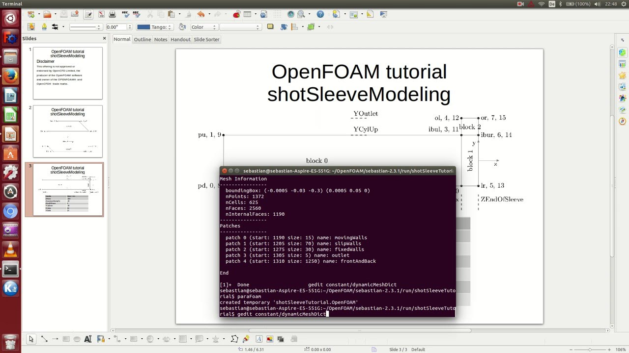 OpenFOAM tutorial: shotSleeveModeling partIII - Make the mesh moving