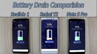 Redmi Y2 Vs Redmi Note 5 Pro Vs RealMe 1 Battery Drain Comparision !! Under 15K Battery Performance!