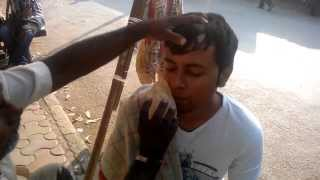Indian Barber Street Shave in Mumbai. Cost: 8 cents. HD