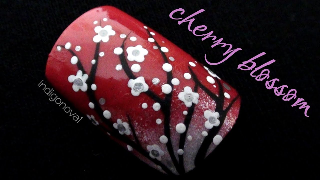 Cherry Blossom Nail Art Tutorial - YouTube