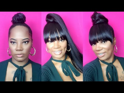 NO GLUE. FAUX BANG AND PONY . CLIP IN Vivica fox APEXHAIRS.COM