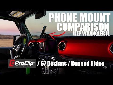 Jeep JL/JT Phone Mount Comparison - ProClip Vs 67 Designs Vs Rugged Ridge Installed