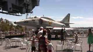 """Young Kids Tour Aircraft Carrier """"midway"""" In San Diego"""