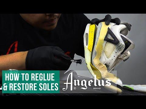 How To Reglue Soles   Air Jordan 4 Tour Yellow Restoration   Angelus Paint