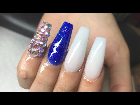 Royal Blue And White Coffin Nails Super Nail Designs
