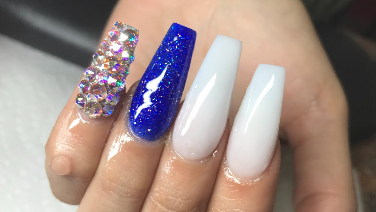 Royal Blue And White Coffin Nails Youtube
