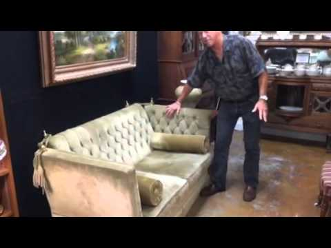 Victorian parlor suede settee fainting couch at Gannon's Antiques and Art