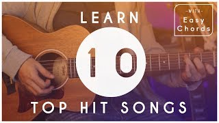 How To Play 10 Top Hit Songs for Beginners | Guitar Tutorial | Easy Chords and Melody Tabs Video