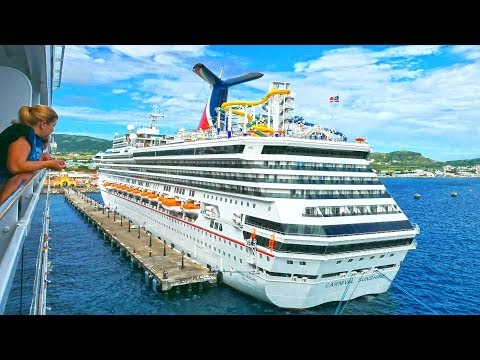 Caribbean St. Kitts - Cruise ships MSC and Carnival Sunshine, port Basseterre 4K 2017 Timelapse.