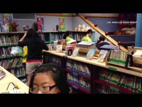 Chinese delegates and students visit Mesa Elementary school in West Covina.
