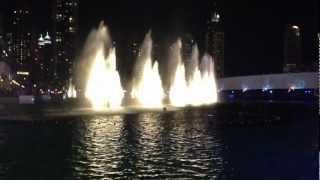 Dubai Fountain in a windy night (Water, Fire & Light show)
