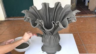 Make Unique Decorative Plant Pots From Fabric And Cement - Cement Craft Ideas At Home