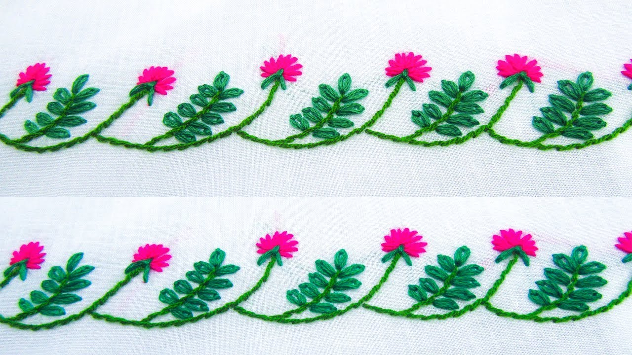 Hand embroidery border line design lazy daisyflower stitch youtube hand embroidery border line design lazy daisyflower stitch izmirmasajfo