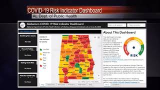 Covid-19 risk indicator dashboard on al dept. of public health website