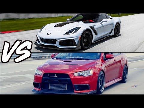 Sleeper Evo X vs  Corvette ZR Supercar! - Mercedes GTR - Lamborghini Huracan