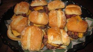 Saint's Slider Burgers Challenge (10 Sliders w/ Bacon) - Food Challenge