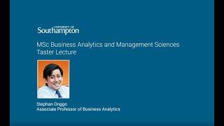 Business Analytics Management Msc University Of Southampton