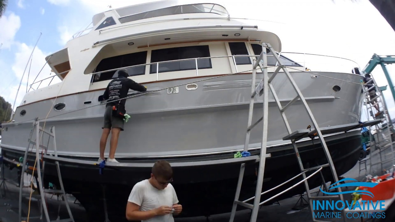 Vinyl Hull Boat Wrap - Halvorsen 54 Custom in Gloss Storm Grey