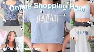 HUGE ONLINE SHOPPING SUMMER TRY ON HAUL! brandy melville, H&M, pretty little thing + more