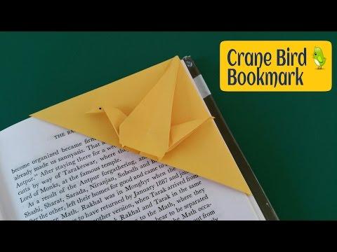 "How to make a Paper ""Crane Bird Bookmark""  - Useful Origami Tutorial"