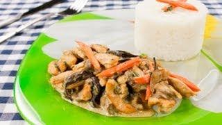 Куриное филе с грибами со сметаной видео рцепт