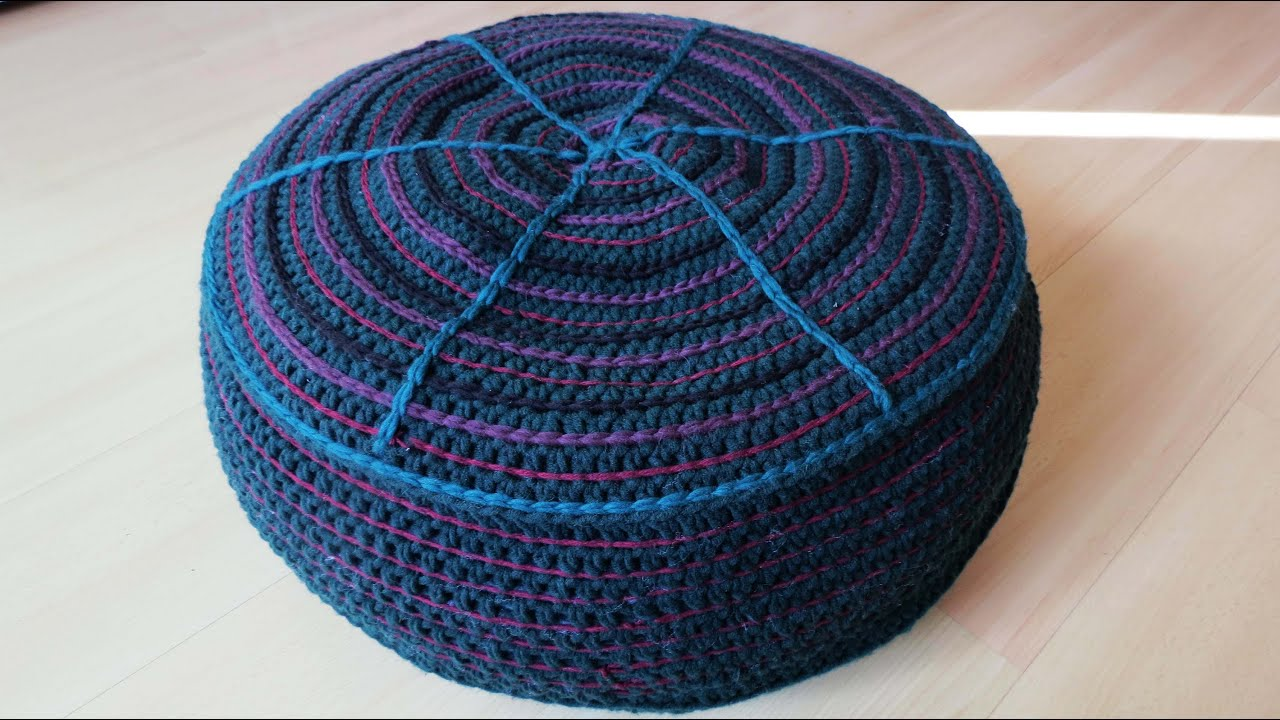 sitzkissen h keln diy crochet pouf eng sub youtube. Black Bedroom Furniture Sets. Home Design Ideas