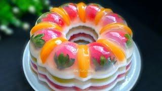 美丽的水果燕菜果冻蛋糕 �...