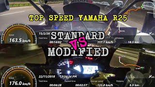 Top Speed Yamaha R25 2018 Standard VS Modified (basic a.k.a stage 1) Malaysia GPS Topspeed